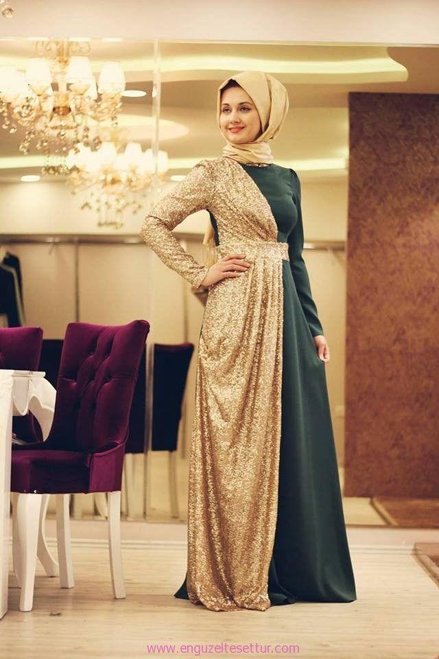 zümrüt  altın aşkı tesettür abiye elbise green gold abaya http://www.enguzeltesettur.com/ozel-tasarim-tesettur-butikler-minel-ask-giyim/