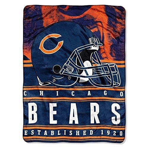 NFL Bears Throw Blanket 60 X 80 Football Themed Bedding Sports Patterned Team Logo Fan Merchandise Athletic Team Spirit Fan White Burnt Orange Navy Blue Silk Touch