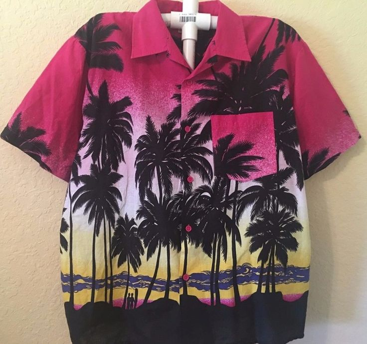 Vintage 1990's Hawaiian Style Button Front Shirt Size Large Surf Surfing Sunset  #DorsettTees #ButtonFront