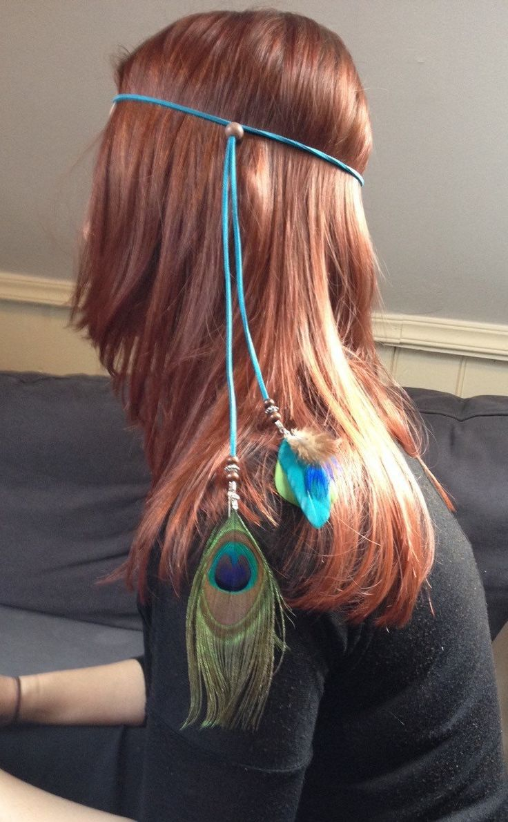 Bohemian suede headband turquoise green with peacock feathers, handmade