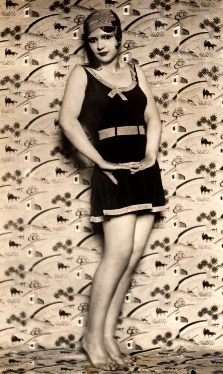 Woman in bathing suit, late 1920s.
