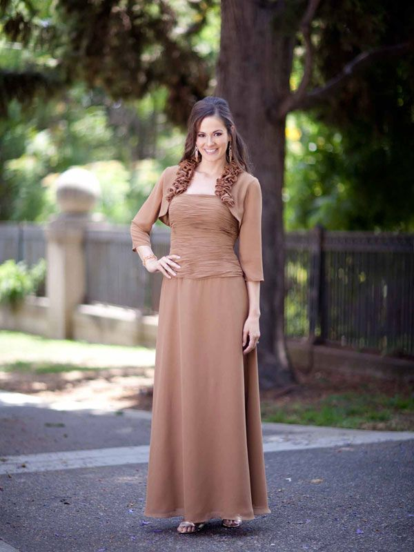 Spaghetti straps A-line with ruffle embellishment chiffon dress for mother of the bride