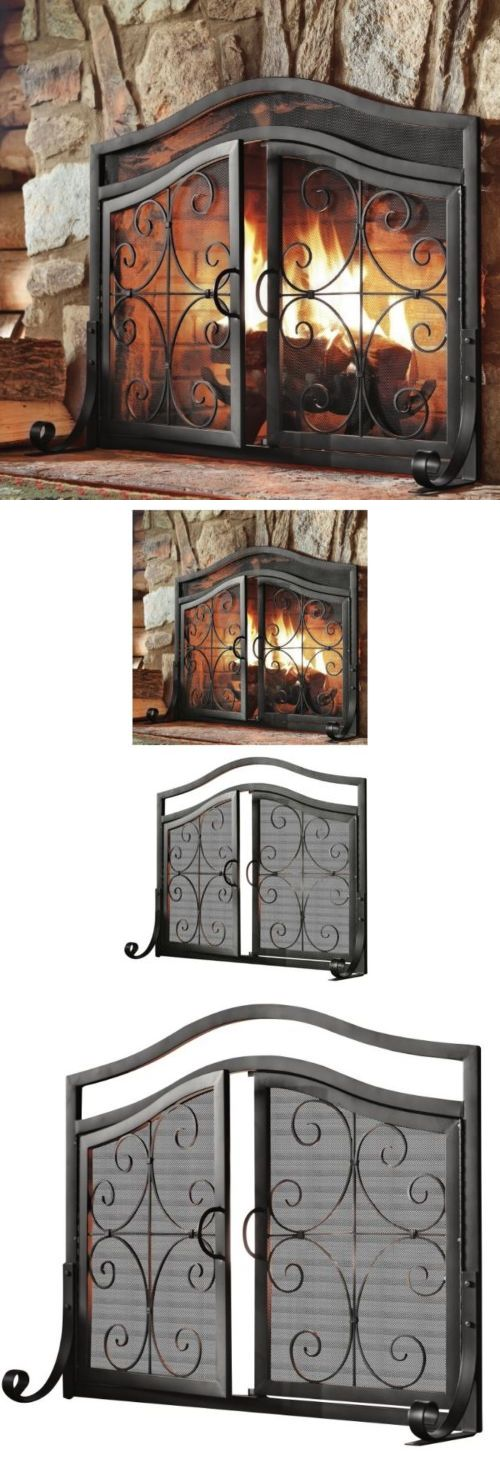 Fireplace Screens and Doors 38221: Fireplace Screens With Doors Black Small Decorative Wrought Iron Fire Screen New -> BUY IT NOW ONLY: $226.32 on eBay!