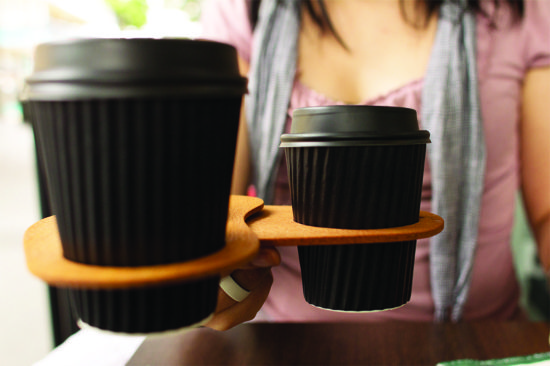 Coffee thumb coffee holders. Holding 2 coffees. Made from Certified Australian Hoop pine. By Mutating Creatures