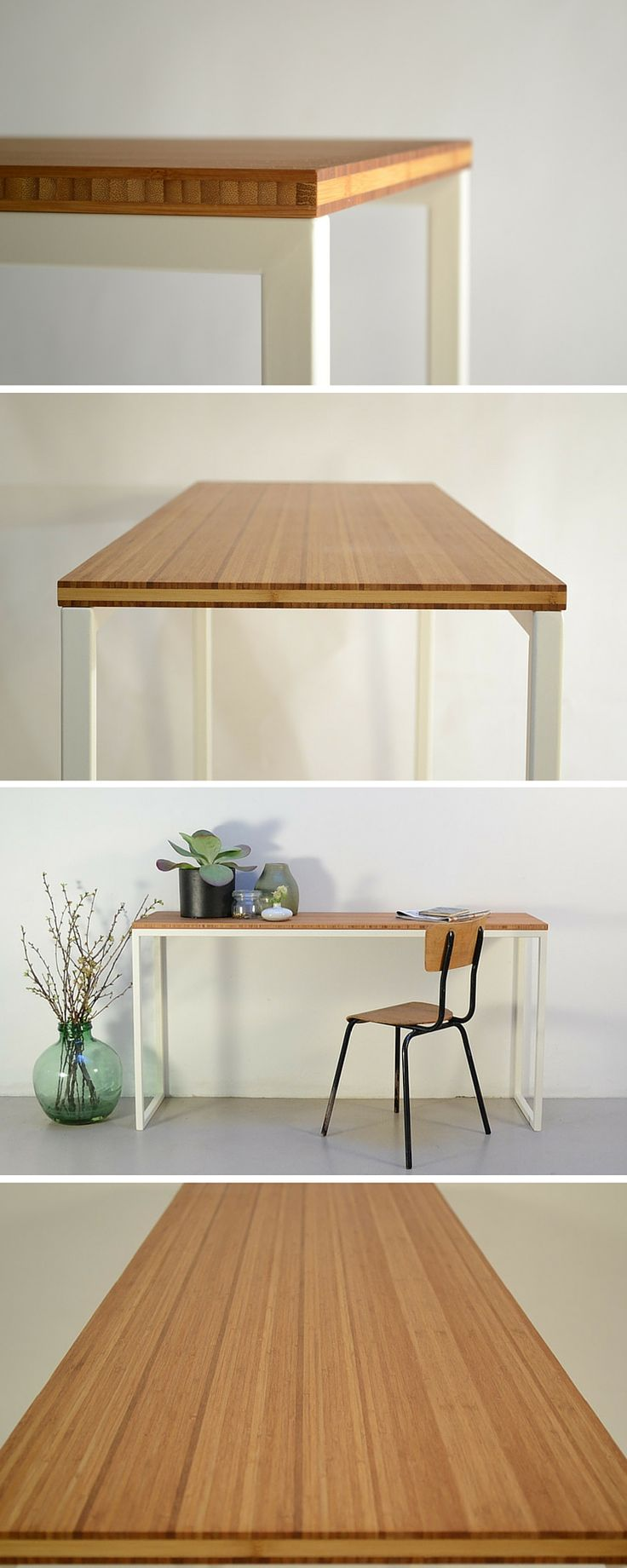 Minimalist table made of steel and bamboo #table#steel#bamboo
