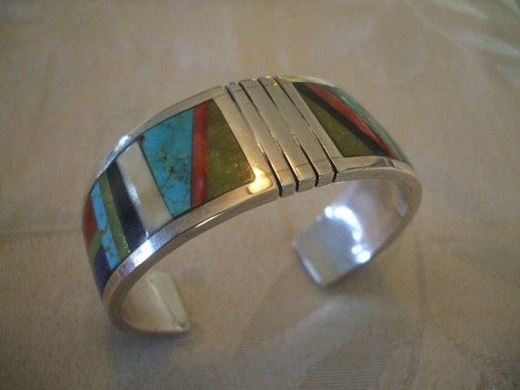 Vintage KEWA Santo Domingo Sterling Silver & Channel Inlay BRACELET Cuff, Signed Robert Lewis Tenorio