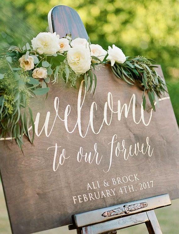 Welcome to Our Forever Wedding Sign - Large Wooden Wedding Welcome Sign - Rustic Wedding Welcome Sign - WS-224 by Sweet Carolina Collective  DETAILS: This listing is for one Welcome to Our Forever wedding welcome sign. This sign is a beautiful decor piece for the entrance of your wedding ceremony or reception. The sign pictured is stained in a dark walnut and hand painted in GOLD acrylic. Paint/stain colors can be changed to match your wedding reception and/or special event - if you...