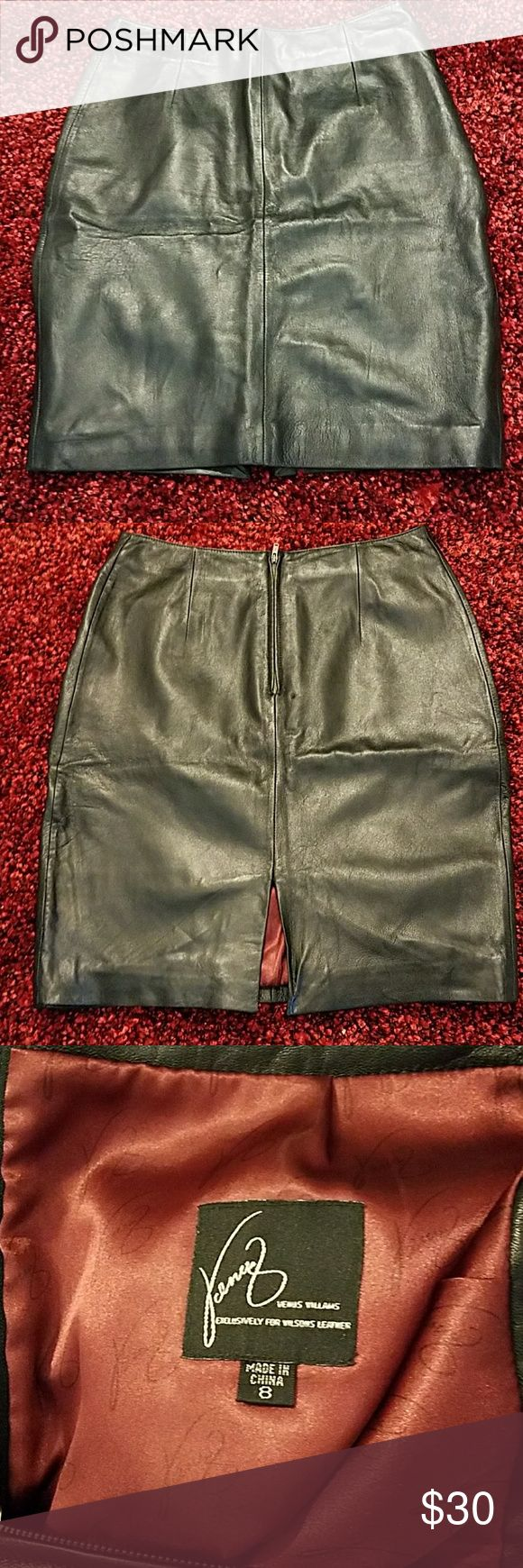 Venus Williams for Wilson Leathers Skirt 100% Leather fully lined skirt Wilsons Leather Skirts