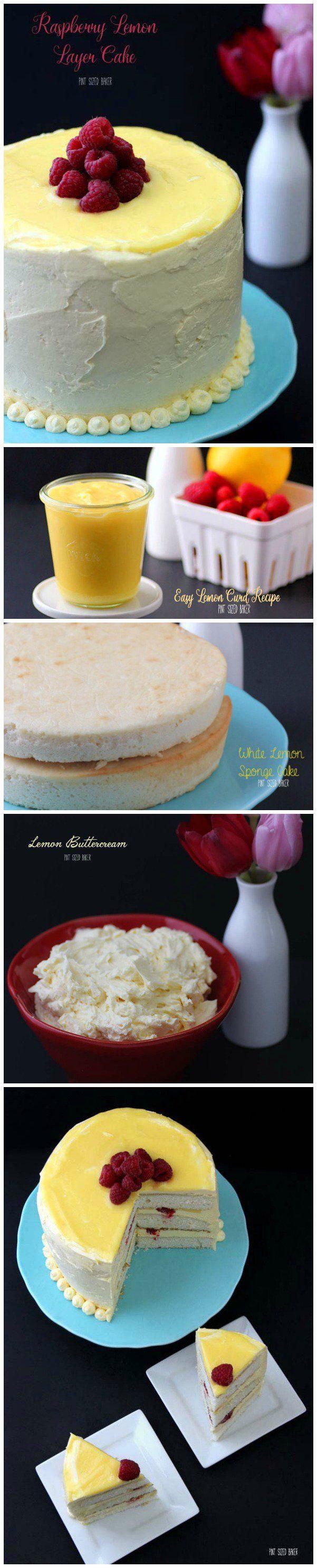 This amazing Raspberry Lemon Layer Cake is made with a white lemon sponge cake, homemade lemon curd, and sweet lemon buttercream frosting.
