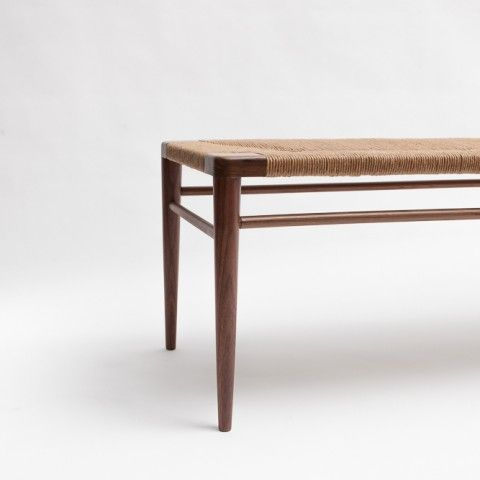 RLB44 – Hand woven rush and walnut bench by Smilow Furniture | reGeneration