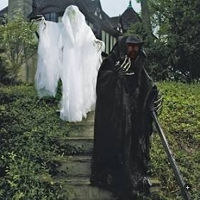 grandinroad halloween halloween decor life size white cloaked reaper ghost from grandin road - Grandin Road Halloween