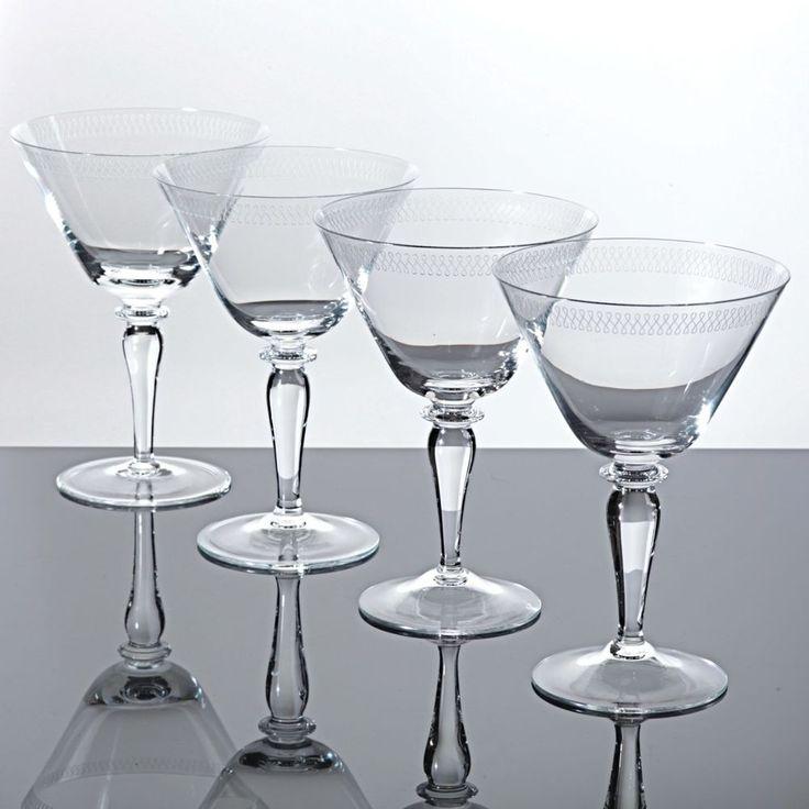 4 Sektschalen Cocktailgläser Martinigläser Art Deco um 1920 Ätzdekor