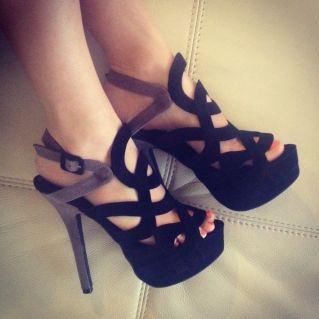 CHIQ | WILD ROSE Black Gray Sandal Platform Strap High Heel