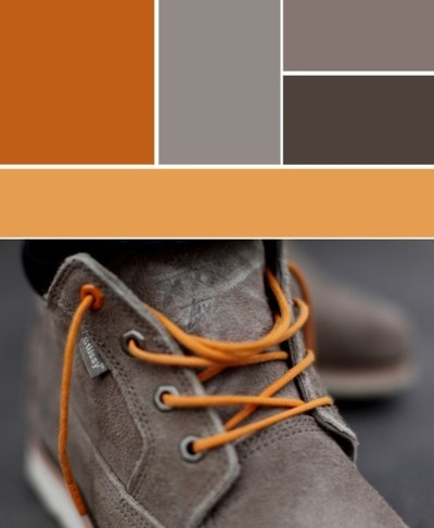 Color pallet, orange and grey, shoe and laces