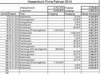 Vorlage für ein Kassenbuch für die monatlichen Einnahmen und Ausgaben mit Berechnung und Übernahme der Bestände in andere Monate. Die Tabellenblätter im Februar müssen für die anderen Monate kopiert werden und die Bezüge angepasst werden.