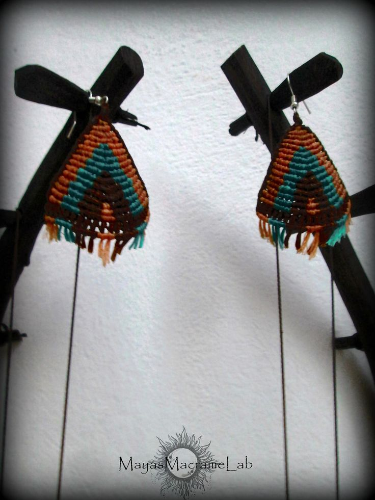 Boho Ethnic Indian Triangle Macrame Earrings, Native american style, free shipping in the name of Spring by MayasMacrameLab on Etsy