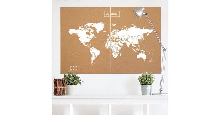 Carte du monde en liège - Carte politique du monde - Woody Map Natural ®