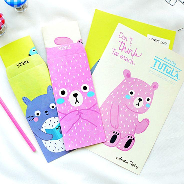 H31 1 Set = 6 Papier + 3 Enveloppe Mignon Kawaii Totoro Tutula Papier Lettre Papeterie Set Écriture De Voeux D'anniversaire Message