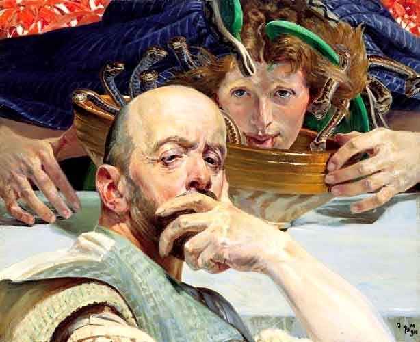 Jacek Malczewski, (1854-1929) - 1910 - Self-Portrait with Erynia (