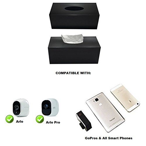 Turn almost any device into a spy camera! Fits all Arlo- Arlo Pro cameras as well as all GoPro cameras. Turn your Cell phone into a hidden camera tissue box. NO CAMERA INCLUDED by Online Enterprises