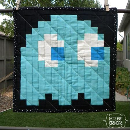 Mini Pac-Man Pixel Quilt I would love to see this in minecraft characters!