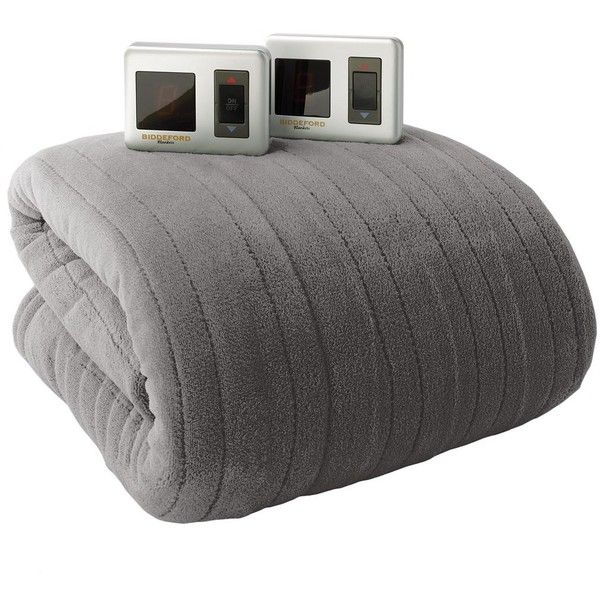 Biddeford Plush Heated Electric Blanket (Grey) ($120) ❤ liked on Polyvore featuring home, bed & bath, bedding, blankets, grey, heat blanket, king blanket, biddeford heated throw, king size electric blanket and biddeford electric blanket