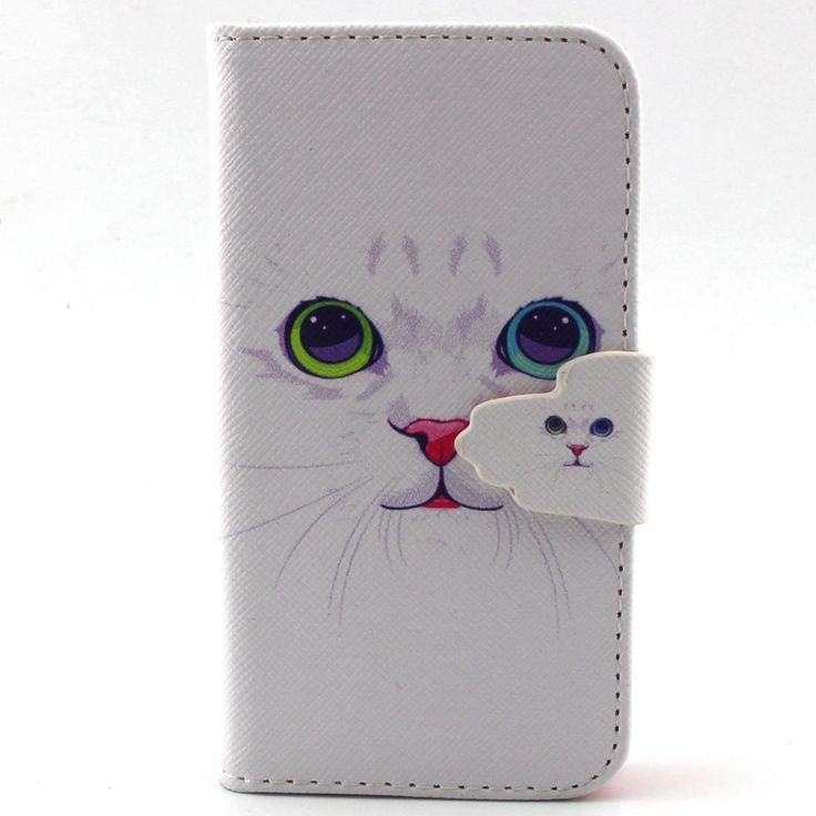 For iPhone 4/4S Case- Cute White Cat Design PU Leather Wallet Case Folio Flip Cover for Apple iphone 4S 4G //Price: $9.95 & FREE Shipping //     #catshop