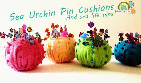 Cute sea urchin pincushion and sea creature pins