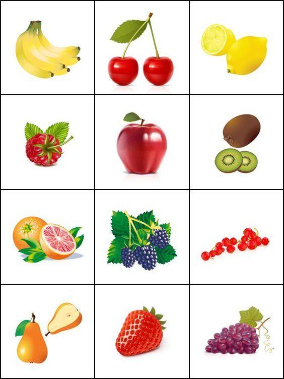 Jeu de mémoire, les fruits. Imprimer 2 fois la planche pour créer un jeu de mémory.