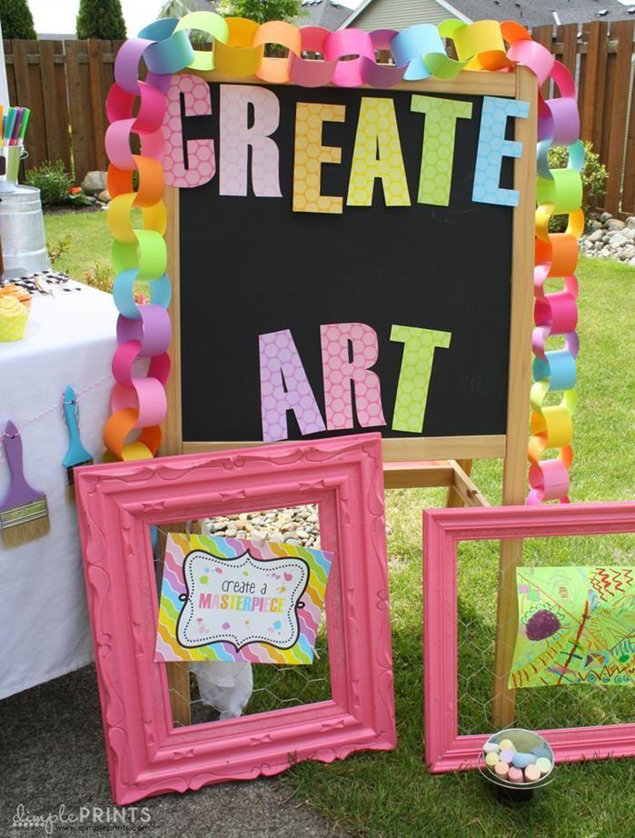 Girly Art Party With So Many Cute Ideas via Kara's Party Ideas   KarasPartyIdeas.com Art Party for M