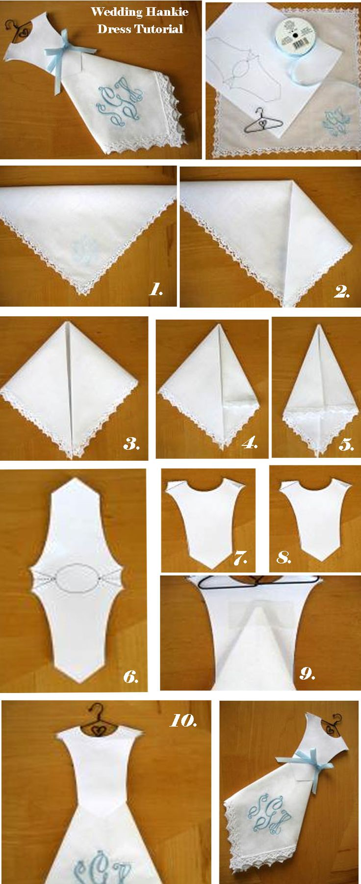 Wedding Hankie Dress Tutorial. Easy to make. Cute wedding or bridal shower favor. Bodice template can be found by clicking here. bumblebeelinens.com