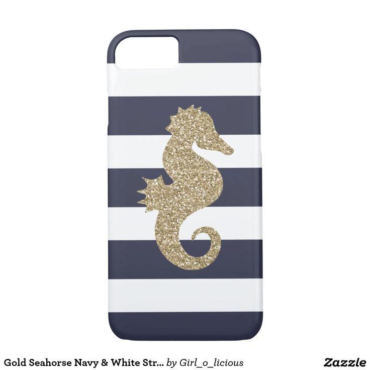 Gold Seahorse Navy & White Stripes iPhone 7 Case