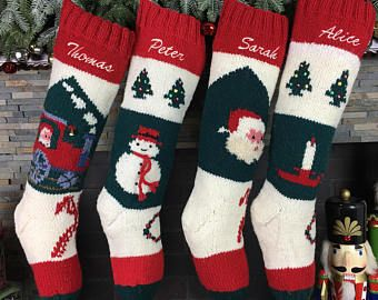 Personalized Christmas Stockings Hand Knit Wool Traditional Vintage Style Santa Hand Made Stockings  Shop: www.HandKnitHoliday.com