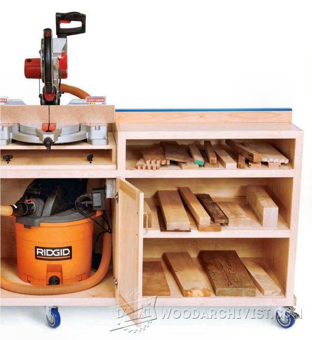 Ultimate Miter Saw Stand Plans - Miter Saw Tips, Jigs and Fixtures | WoodArchivist.com