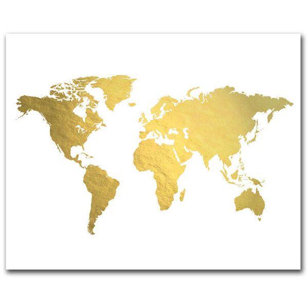 World Map Art Print Real Gold Foil World Map Gold Map