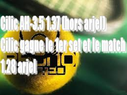 Safe du jour  Tennis United Kingdom ATP Wimbledon 2017 1 2 Today 14:00 Cilic M. AH -3.5 Games 1.37 (1xbet) 14:00 Cilic M. gagne le 1er set et le match  1.28 (unibet) http://ift.tt/2ers8wu