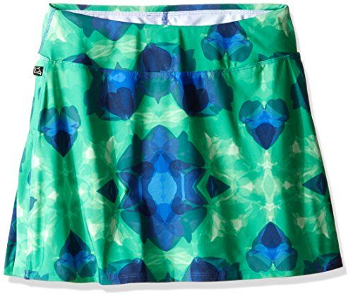 Skirt Sports Gym Girl Ultra Skirt with Athletic Shorts, Emerald City Print, Large