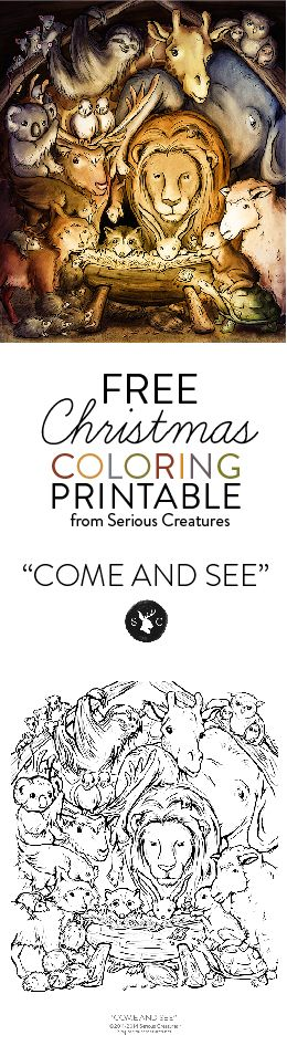 Free Christmas Printable Coloring Page Art from Serious Creatures. How many curious pairs of eyes can you find?