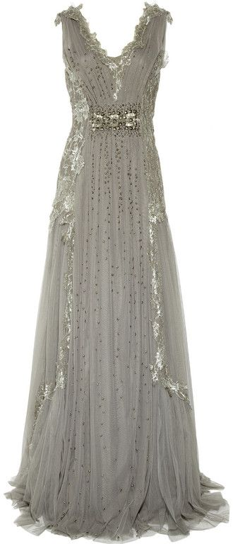 Alberta Ferretti  Embroidered Tulle Gown-This would make such a beautiful Wedding Dress! Has a Vintage inspired charm to it. I would def wear this!