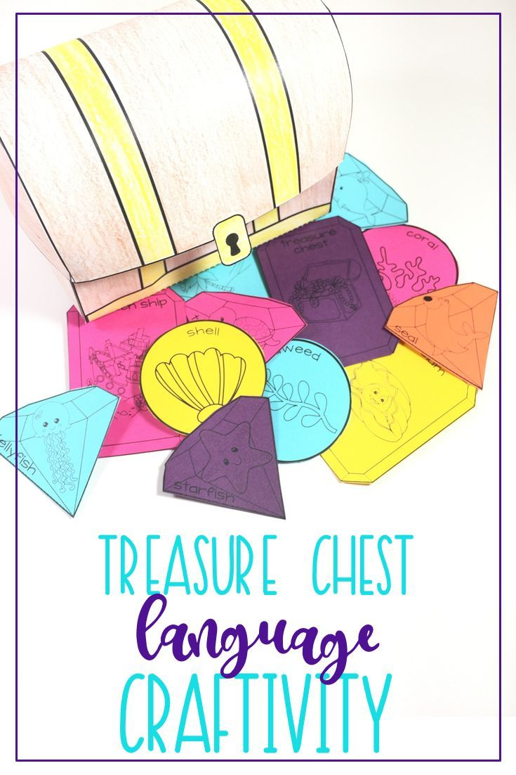 This pirate or ocean themed craft is a great activity for language preschoolers and elementary aged kids. Follow directions to make a treasure chest, as well as complete language activities to collect your treasures! Target prepositions, categories, actions, pronouns, ocean vocabulary, compare & contrast, synonyms, antonyms, multiple meanings, big/small...and blank jewels to create your own!