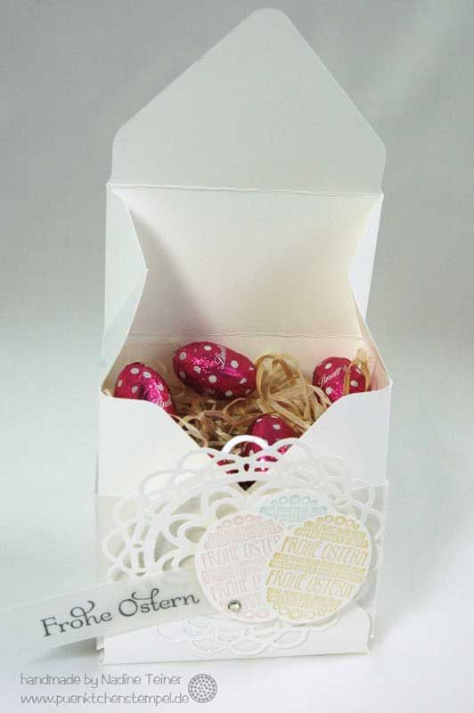 A subtle little easter box for little chocolate easter eggs or other sweets. | www.puenktchenstempel.de