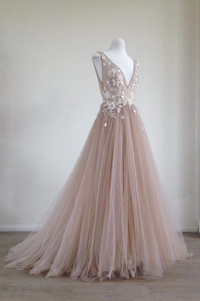 1729099bd76 Unique champagne tulle lace applique long prom dress