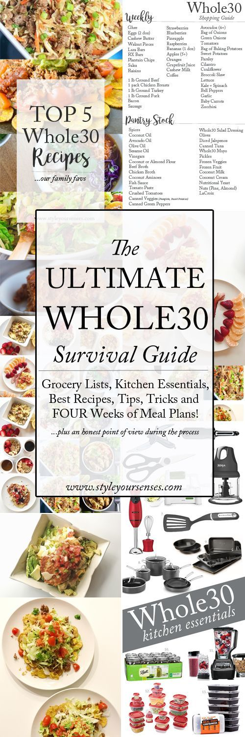 I put together the ultimate Whole30 survival guide and am detailing my favorite Whole30 recipes, grocery lists, meal plans and kitchen essentials!!