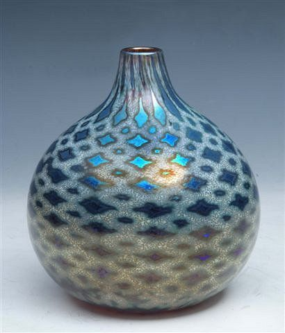 SIDDY LANGLEYA Moroccan style irridescent ovoid form glass vase, signed and dated 2001 to the base