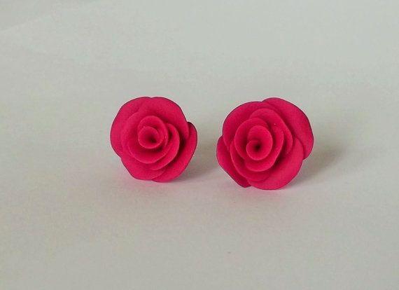 Pink Rose Earrings Stud Earrings Fuschia Pink by fabtasticflowers