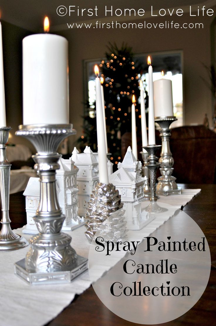 Silver spray paint makes your mismatched candle sticks become a beautiful collection! www.firsthomelovelife.com