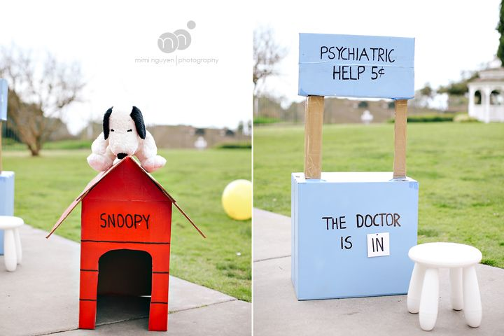 Peanuts party ideas: Snoopy's dog house and Lucy's psychiatrist booth on mim inguyen