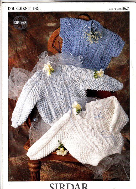 3624 Sirdar Knitting Pattern Aran-style Baby Sweaters