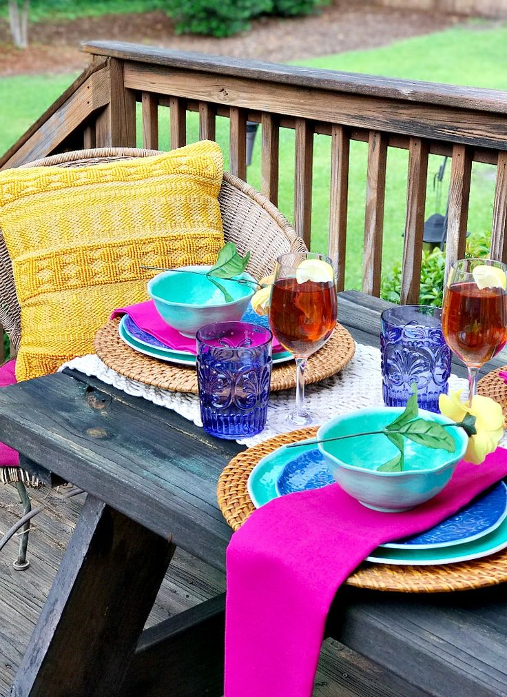 Outdoor Living with Bright and Bold Colors. Set a table that is both casual and so inviting! @World Market #DiscoverWorldMarket #WorldMarketTribe #ad