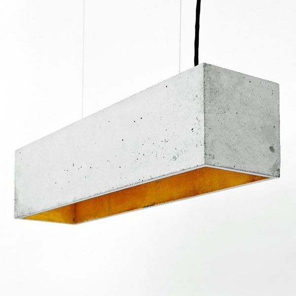 B4+Rectangular+Pendant+Light+–+Grey+&+Gold+-+The+B4+Rectangular+Pendant+Light+is+a+stunning+focal+point+for+any+kitchen+or+dining+room!+This+grey+and+gold+concrete+pendant+light+stretches+across+any+counter+top+or+dining+table+to+create+a+unique+and+distinctive+lighting+feature+that+is+sure+to+be+a+talking+point.  This+designer+pendant+covers+a+longer+area+with+light,+so+is+ideal+above+a+table+or+work+surface+and+features+three+bulbs+that,+when+lit,+display+the+true+eye-catcher+of+the+design